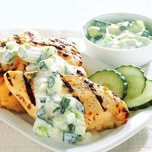 Grilled Chicken with Cucumber Yogurt Sauce