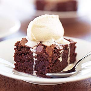 Dark Chocolate Brownies with Frozen Coffee Cream