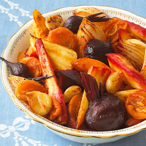 Roast Vegetable Tsimmes with Apricots