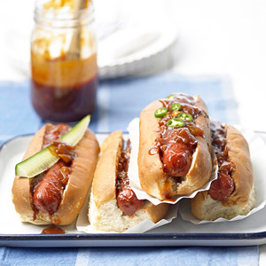 Summertime Hot Dogs with Dr Pepper Barbecue Sauce
