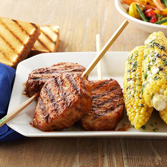 Barbecued Pork Chops On A Stick