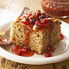 Banana-Clementine Wacky Cake with Pomegranate Sauce
