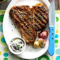 Rosemary Steaks with Olive Mayo