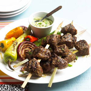 Top Sirloin Kabobs and Avocado Sauce