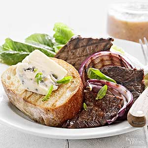 Grilled Steak and Onion Salad with Blue Cheese Toast