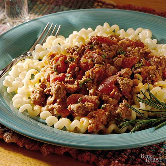 Fusilli With Creamy Tomato And Meat Sauce