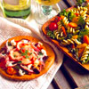 Roasted Pepper and Chevre Pizzas