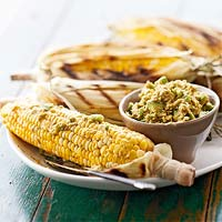 Marinated Grilled Corn with Chili-Avocado Butter
