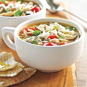 Minestrone with Mushrooms and Feta