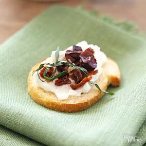 Crostini with Olives and Feta Spread