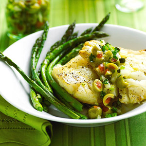 Baked Mediterranean Cod and Asparagus
