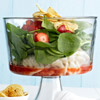 Layered Spinach and Pot Sticker Salad