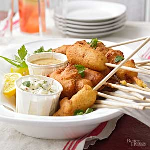 Blue Cheese and Bacon Mini Corndogs