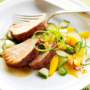 Pork Tenderloin with Cucumber-Mango Salad