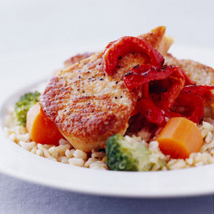 Peppered Pork Chops and Pilaf