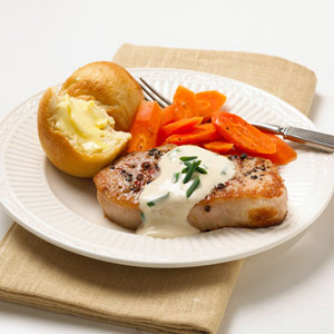 Peppered Pork with Chive Sauce