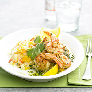 Stir-Fry Shrimp with Cheesy Grits