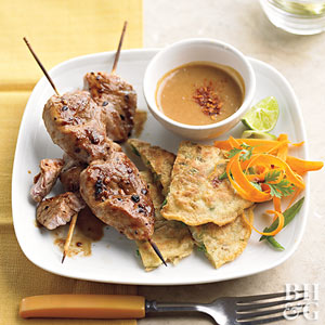 Pork Kabobs with Onion Cakes and Peanut Sauce