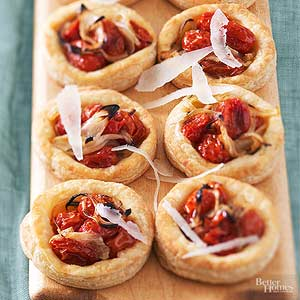 Sweet Onion-Tomato Tartlets