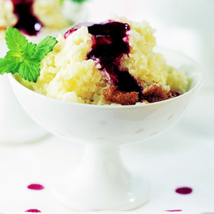 Rice Pudding Souffle with Raspberry Sauce