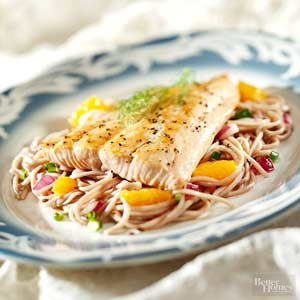 Orange Salmon with Noodles