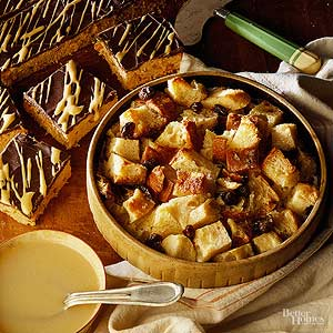 Raisin Bread Pudding with Whiskey Sauce