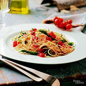 Angel Hair with Asparagus and Tomatoes