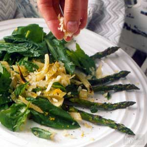 Warm Asparagus, Fennel, & Spinach Salad