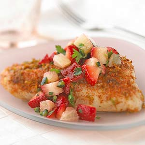 Grilled Bass with Strawberry Salsa