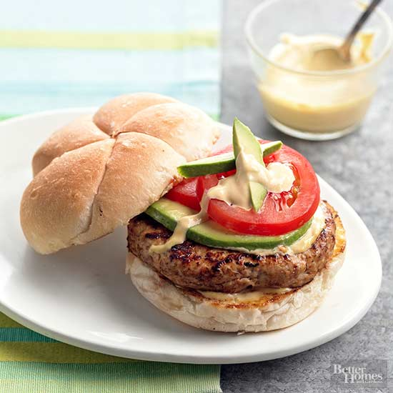 Turkey Burgers with Mustard Sauce