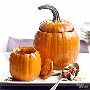 Roasted Pumpkins with Bacon and Brown Sugar