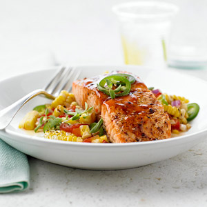 Barbecued Salmon with Corn Relish