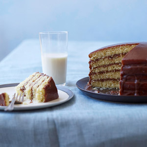 Golden Layer Cake with Chocolate Icing