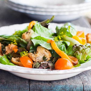 Farm Salad with Sweet Peppers and Sage Croutons