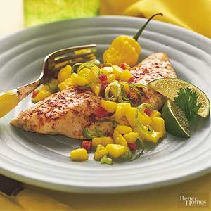 Spicy Red Snapper with Mango Salsa