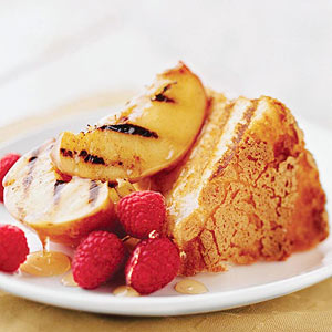 Seared Nectarines with Angel Food Cake