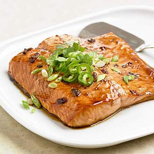 Pepper Jelly and Soy Glazed Salmon