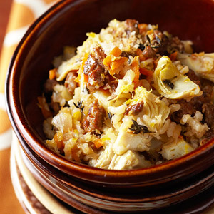 Baked Risotto with Sausage and Artichokes