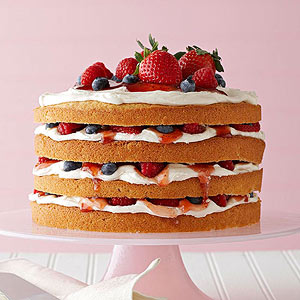 Vanilla Cake with Buttercream, Berries, and Jam