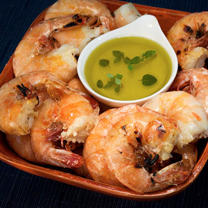 Salt-Crusted Shrimp with Greek Islands Dipping Sauce
