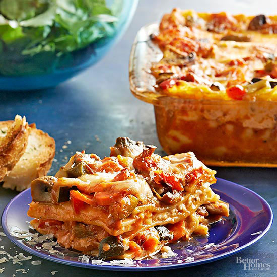 Roasted vegetable lasagna for Better homes and gardens lasagna