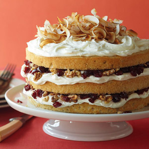 Toasted Coconut Cake with Walnuts and Cranberries
