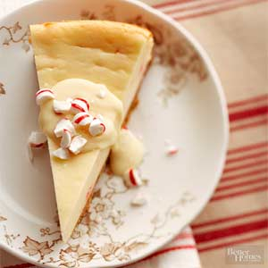 White Chocolate and Candy Cane Cheesecake