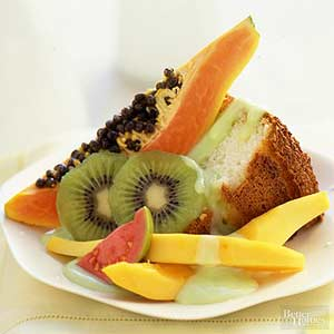 Angel Food Cake with Tropical Fruits