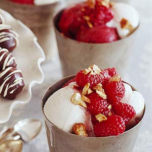Raspberry-Nut Sundaes