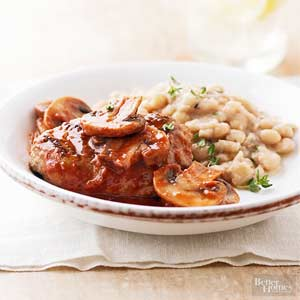 Turkey Salisbury Steaks with White Bean Mash