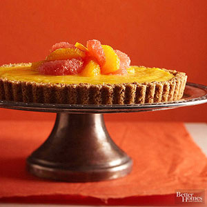 Grapefruit Tart with Chocolate-Almond Crust