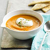 Gingered Carrot-Sweet Potato Soup with Chive Cream