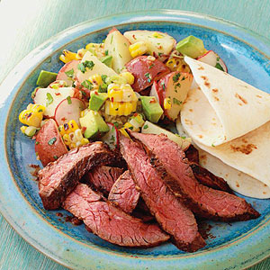 Mesquite Skirt Steak with Corn & Potato Salad