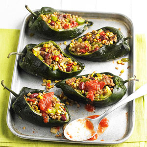 Stuffed Poblano Chiles with Sausage & Corn